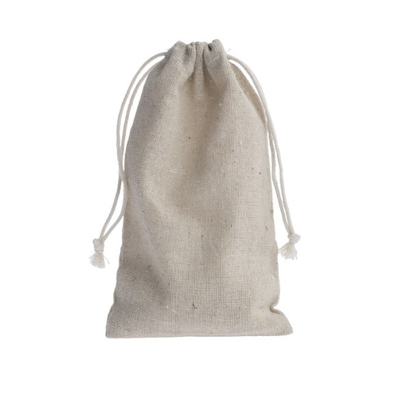 mini linen drawstring bag 10x15cm