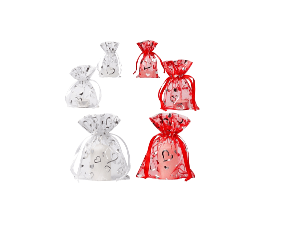 organza bags with hearts red and white