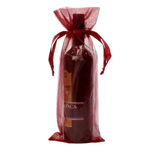organza botle gift bag 15x38cm bordeaux red