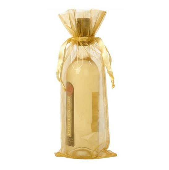 organza bottle gift bag 15x38cm gold