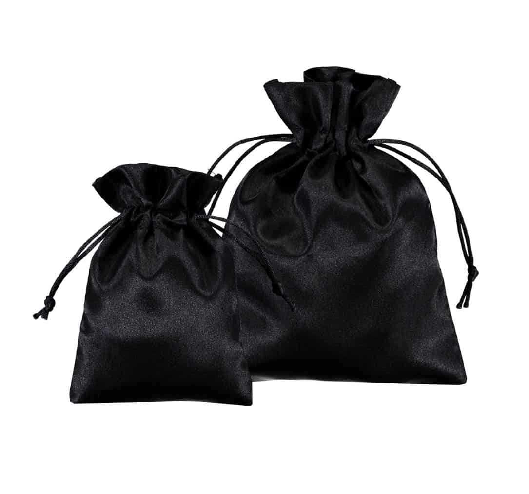 satin drawstring bags black