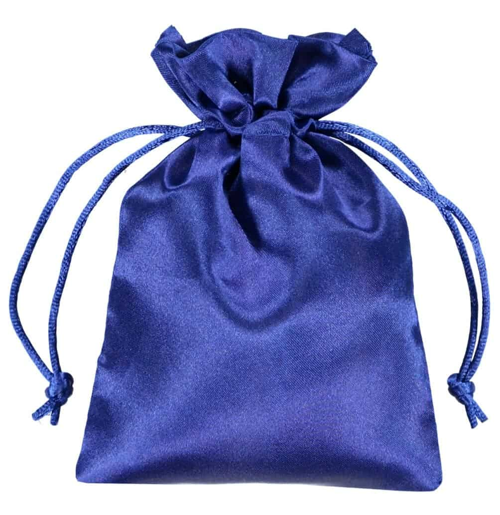 satin drawstring bag 10x15cm blue