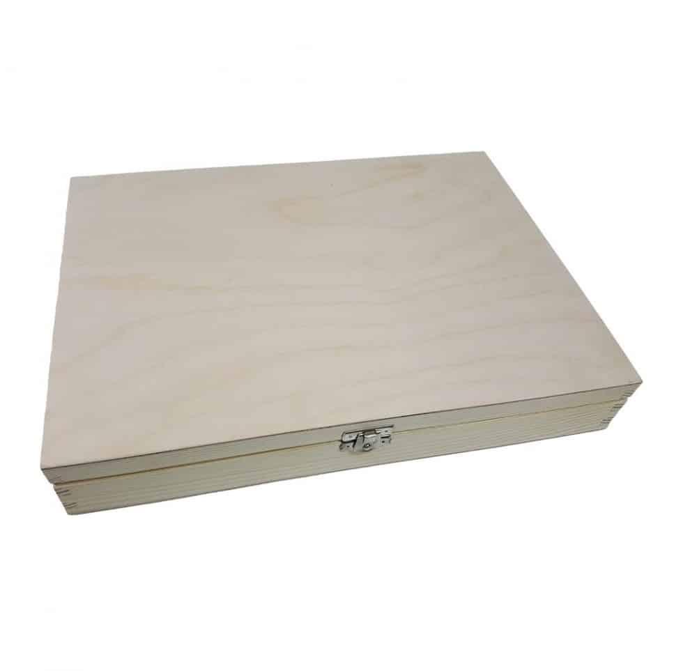 Sileät FSC-kuusipuiset laatikot, saranoidut kannet A4, A5, A6 Luonnollinen lakaton
